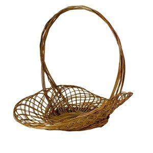 Vintage Wicker Flower Gathering Harvest Basket